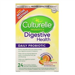 Culturelle, Probiotics, Digestive Health, Daily Probiotic, Fresh Orange Chewables, 24 Once Daily Tablets