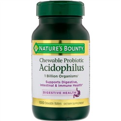 Nature's Bounty, Chewable Probiotic Acidophilus, Natural Strawberry Flavor, 100 Chewable Wafers