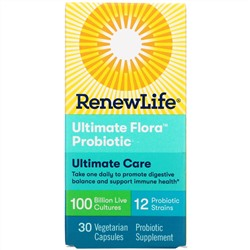 Renew Life, Ultimate Care, Ultimate Flora Probiotic, 100 Billion Live Cultures, 30 Vegetarian Capsules