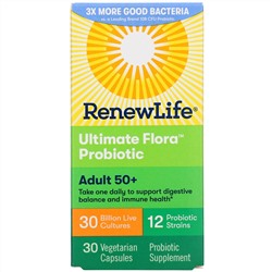 Renew Life, Adult 50+ Ultimate Flora Probiotic, 30 Billion Live Cultures, 30 Vegetarian Capsules